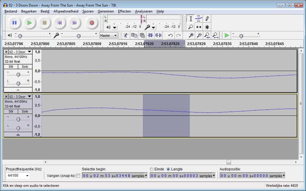 Audacity - stap 5 - gerepareerde samples