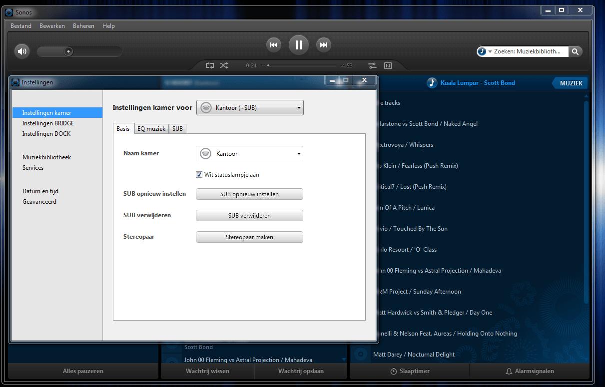 instellingen Sonos Sub