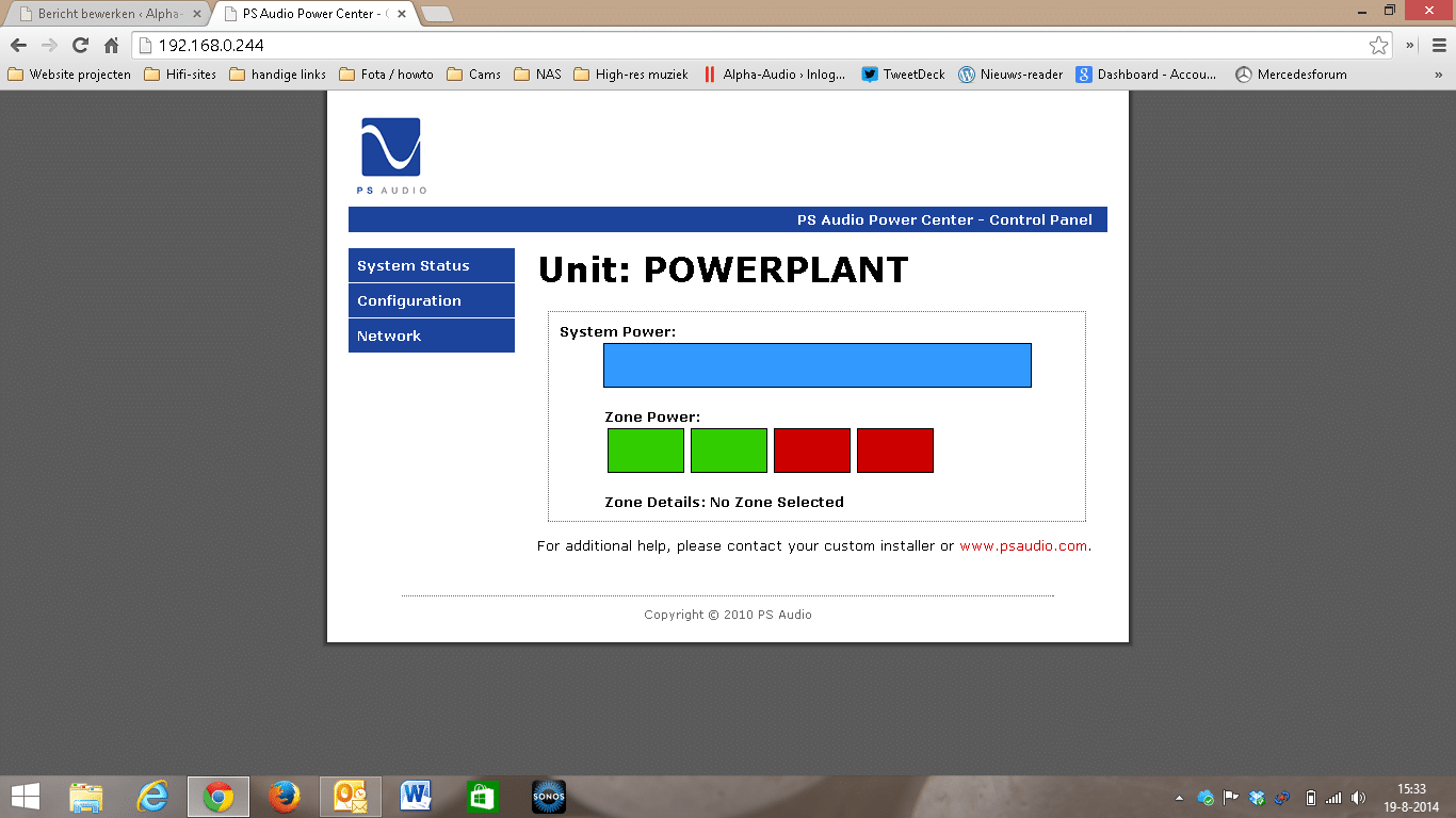 PS Audio Power Plant web interface
