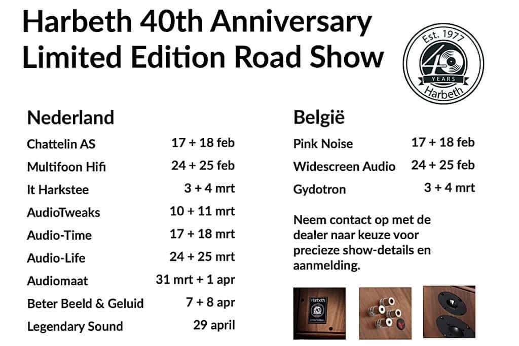 Het schema van de Beluister de Harbeth jubileumspeakers tijdens de Harbeth 40th Anniversary Limited Edition road show